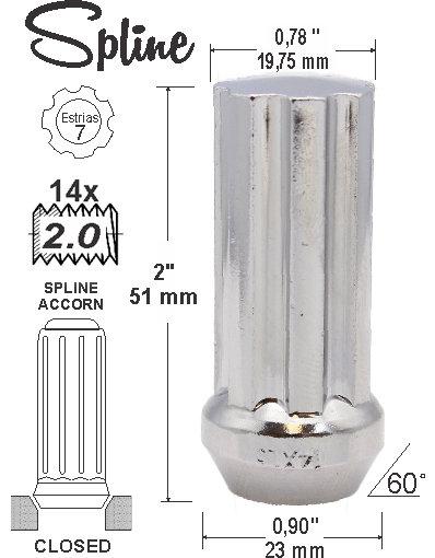 Spline Acorn 51mm 14 x 2.00