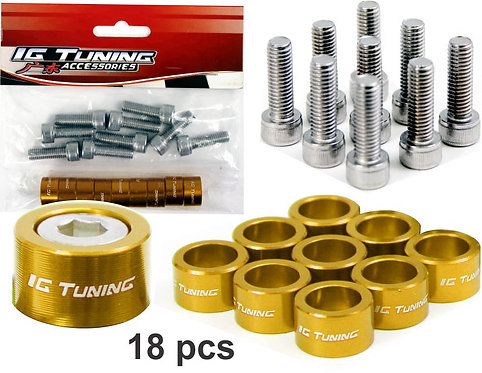 M8 X 1.25 Aluminium Bolt 18 Pcs Yellow
