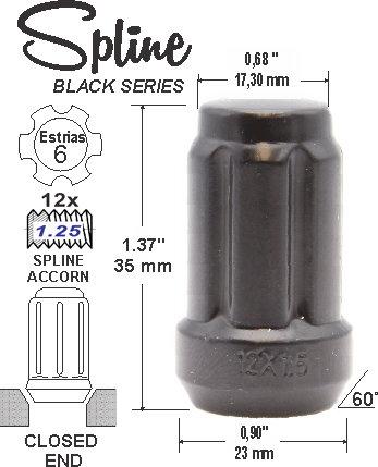 Spline Acorn L35mm 12x1.25 6Sp Black