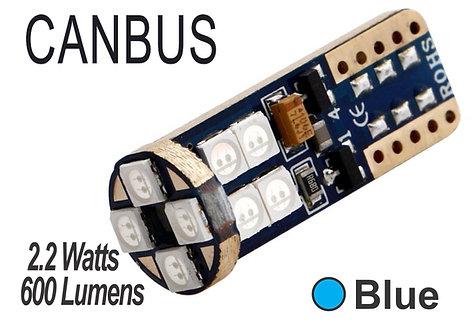 T10 LED 12 Led Canbus 2 pcs Blue