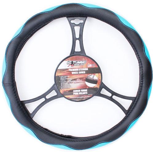 Steering Wheel Cover Curves Black Blue