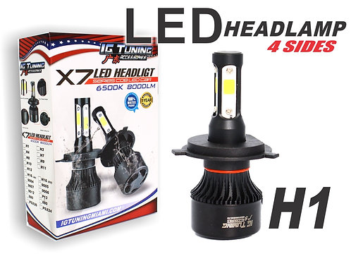 Headlight Led 4 sides Black H1