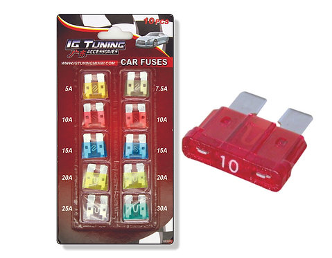 Kit  Of 10  Fuses Various Amps