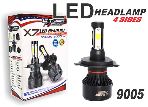 Headlight Led 4 sides Black 9005