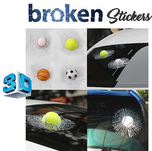 Car Stickers crazy ball broken design scratch