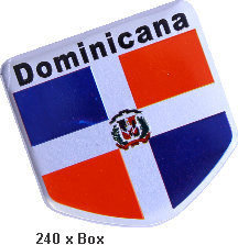 Sticker metal Dominican Rep Flag