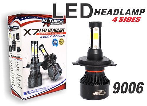 Headlight Led 4 sides Black 9006