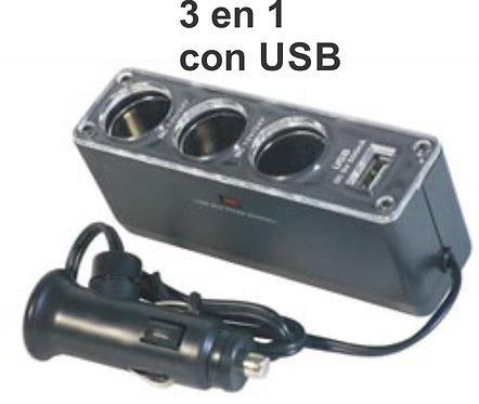 3 In 1 Lighter  Adaptor W/Usb