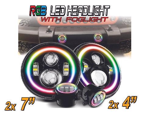 """Headlamp Kit 4 pcs 7"""" controller with app"""