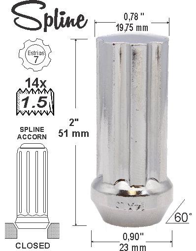 Spline Acorn L51mm 14x1.5