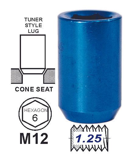 Lug Nut Tunner Blue 12X1.25