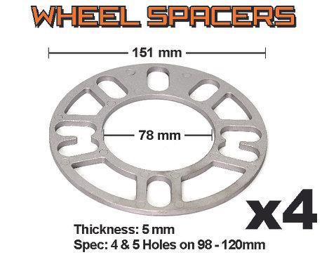 Aluminium Spacer 4 pcs bag S100 / 5 mm