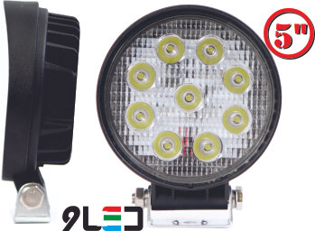 Round Fog Light 9 Led 2 Pcs