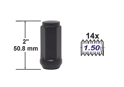 Bulge Acorn Chrome 2 inch 14x1.50 Black