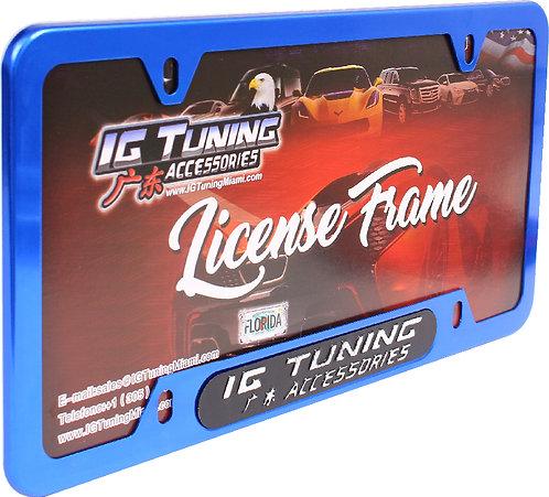 License Plate Frame Metal Blue