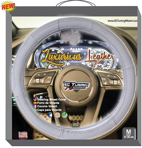 Steering Wheel Cover Leather Gray