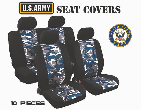 Seat Cover Military 10 pcs Blue