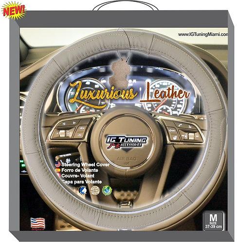 Steering Wheel Cover Leather Beige