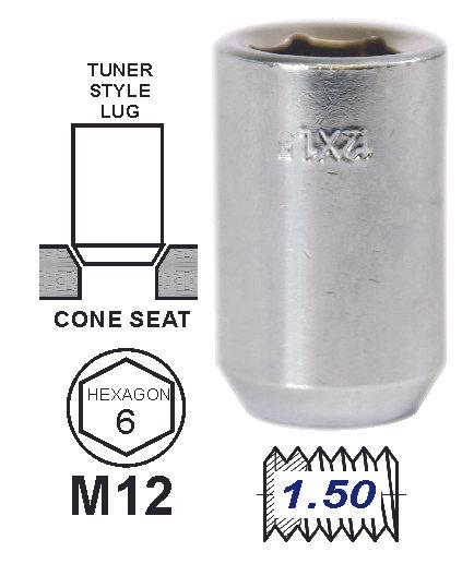 Lug Nut Tunner Chrome 12X1.50