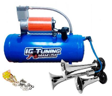 Blue Compressor with three hoses