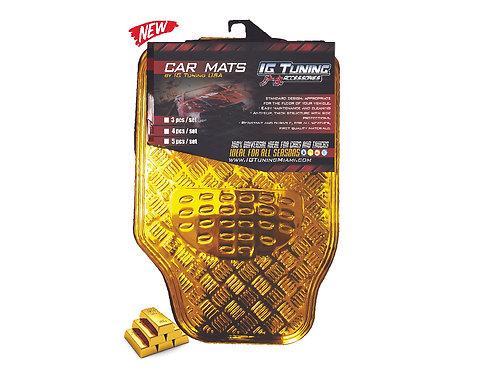 Car Mats Floor 4 pcs Metal Gold
