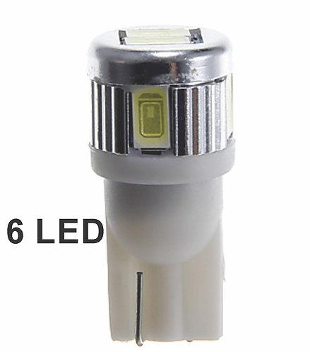 T10 6Led Mod Robocop 2 Pcs White