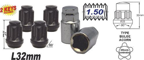 Acorn Mag L45 Wheel Lock 14x1.5 6Pcs Black