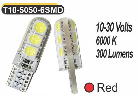 T10 LED 6 SMD 2 pcs Red