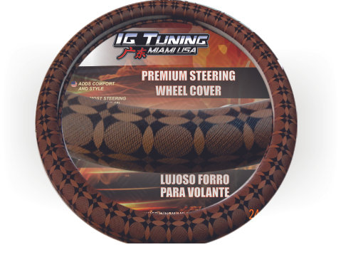 Fashion Steering Wheel Cover Brown