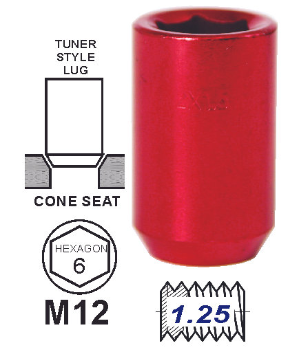 Lug Nut Tunner Red 12 x 1.25