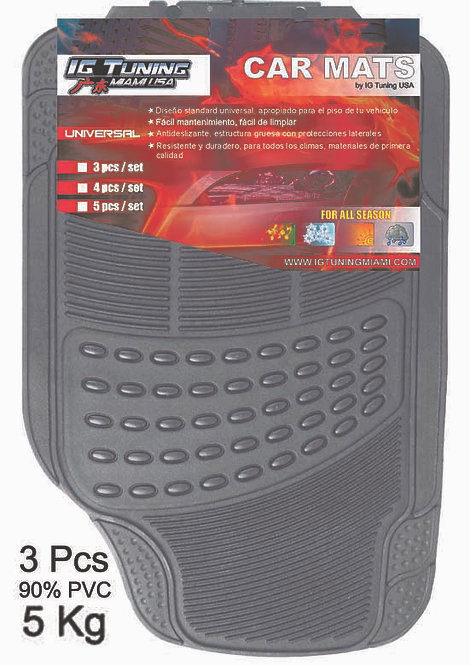 Pvc Car Mat Adjustable 3 Pcs Gray