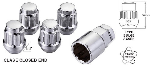 Cone Acorn Bulge open End Wheel Locks 12x1.25