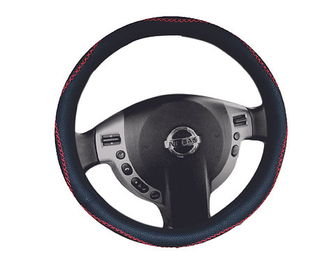 Steering Wheel Cover Handmade Blk-Rd