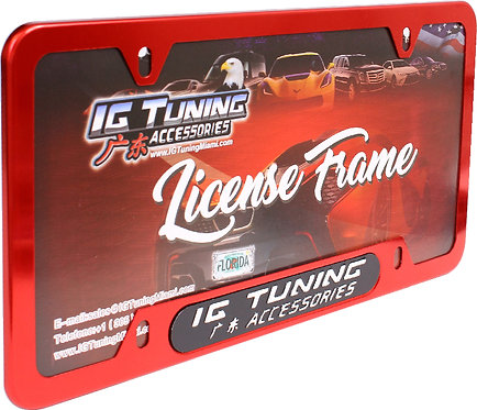 License Plate Frame Metal Red