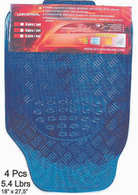 Car Mats Floor 4 pcs Metal Carbon Blue