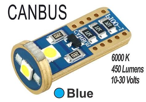 T10 LED 3 Led Canbus 2 pcs Blue