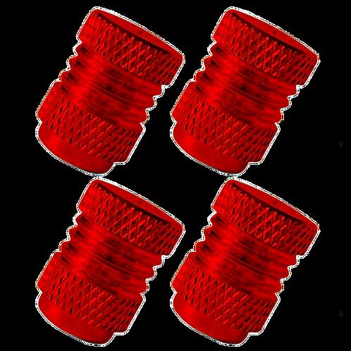 Red 4Pcs. Set Valve Caps.