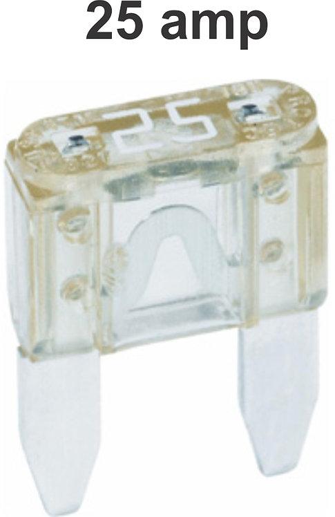 25 Amps Mini Fuse 100 Pcs