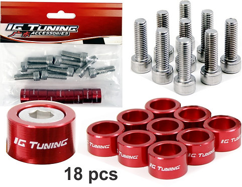 M8 X 1.25 Aluminium Bolt 18 Pcs Red