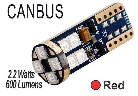 T10 LED 12 Led Canbus 2 pcs Red