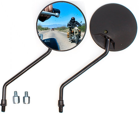 Rearview Mirror round 2 pcs Black