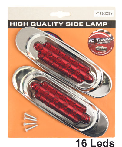 Side Lamp Chrome 16 Leds Red 2 Pcs