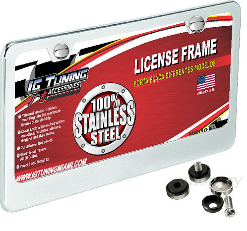 License Plate Frame Metal Chrome