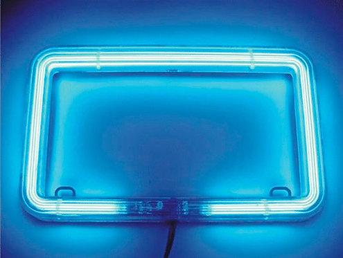 Motorcycle Neon License Frame Blue
