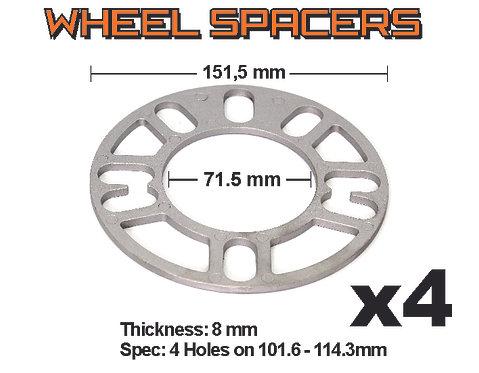 Aluminium Spacer 4 pcs bag S101 / 8 mm