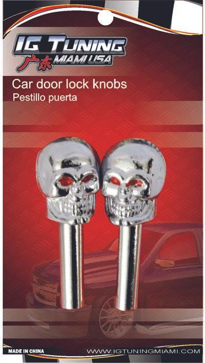 2 Pcs Car Door Lock Knobs Skrull
