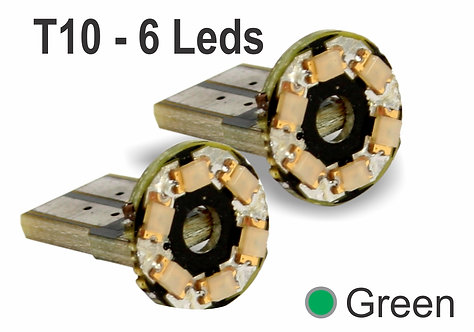 T10 Circular 6 LED Green 2 pcs