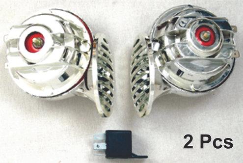 Chrome Double Shellhorn W/Relay  12V