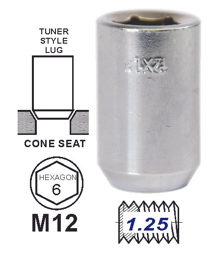 Lug Nut Tunner Chrome 12X1.25