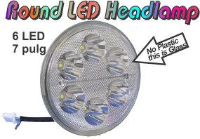"""Round 30W 6LED Motorcycle 7"""" Headlamp"""